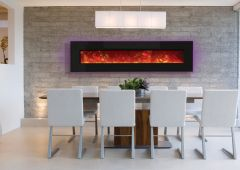 Electric Fireplace Dining Backlit Purp