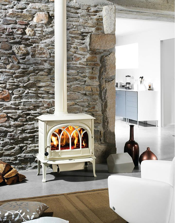 Wood Stoves Gallery - The Original Flame - White Wood Stove WB Designs