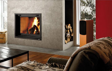 Valcourt wood modern Fireplaces