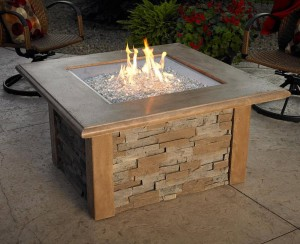 firepit with glass beads