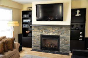 tv above a fireplace