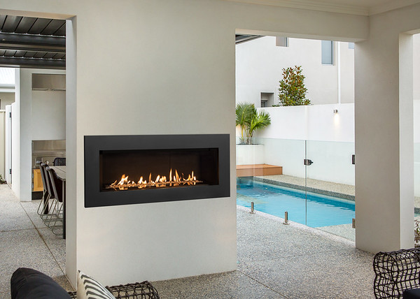 L2 Linear Series With Murano Glass, Fluted Black Liner, 5 1 4 Inch Surround In Black And GV60CKO Outdoor Conversion Kit M