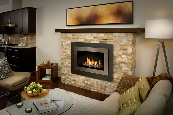 Rocks Shown With Decorative Rock Kit, Fluted Black Liner, Landscape Outer Surround And Brushed Nickel Inner Bezel M